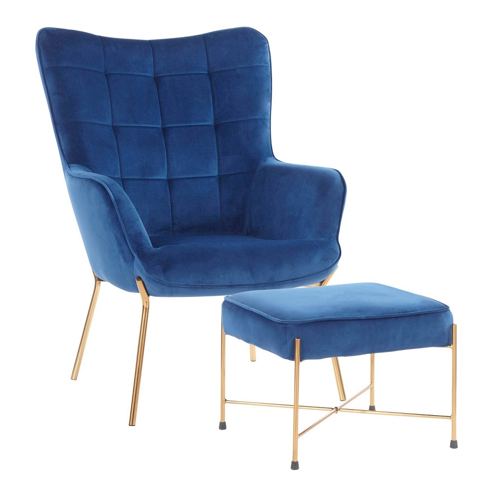 Izzy Contemporary Lounge Chair And Ottoman Set Blue Lumisource