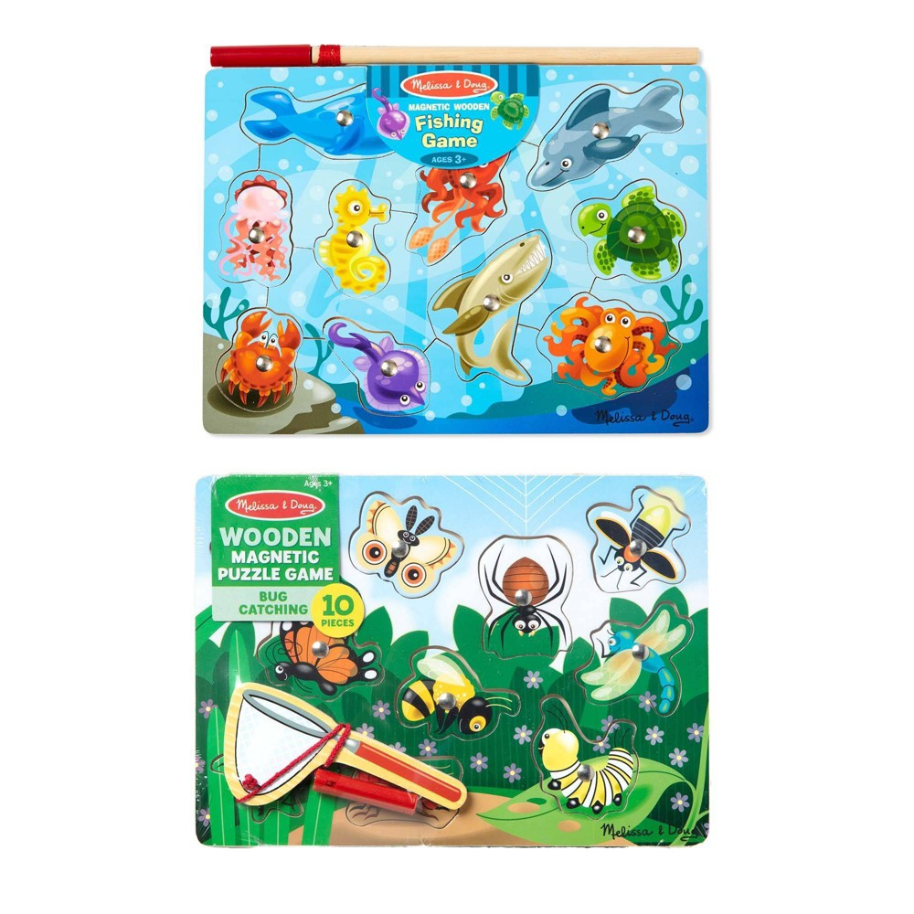 Melissa 38 Doug Magnetic Wooden Puzzle Game Set Fishing And Bug Catching