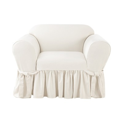 Essential Twill Ruffle Chair Slipcover White - Sure Fit