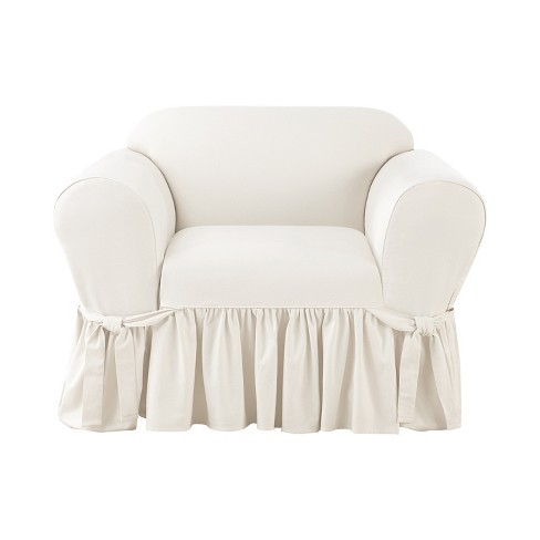 Marvelous Essential Twill Ruffle Chair Slipcover White Sure Fit Pdpeps Interior Chair Design Pdpepsorg