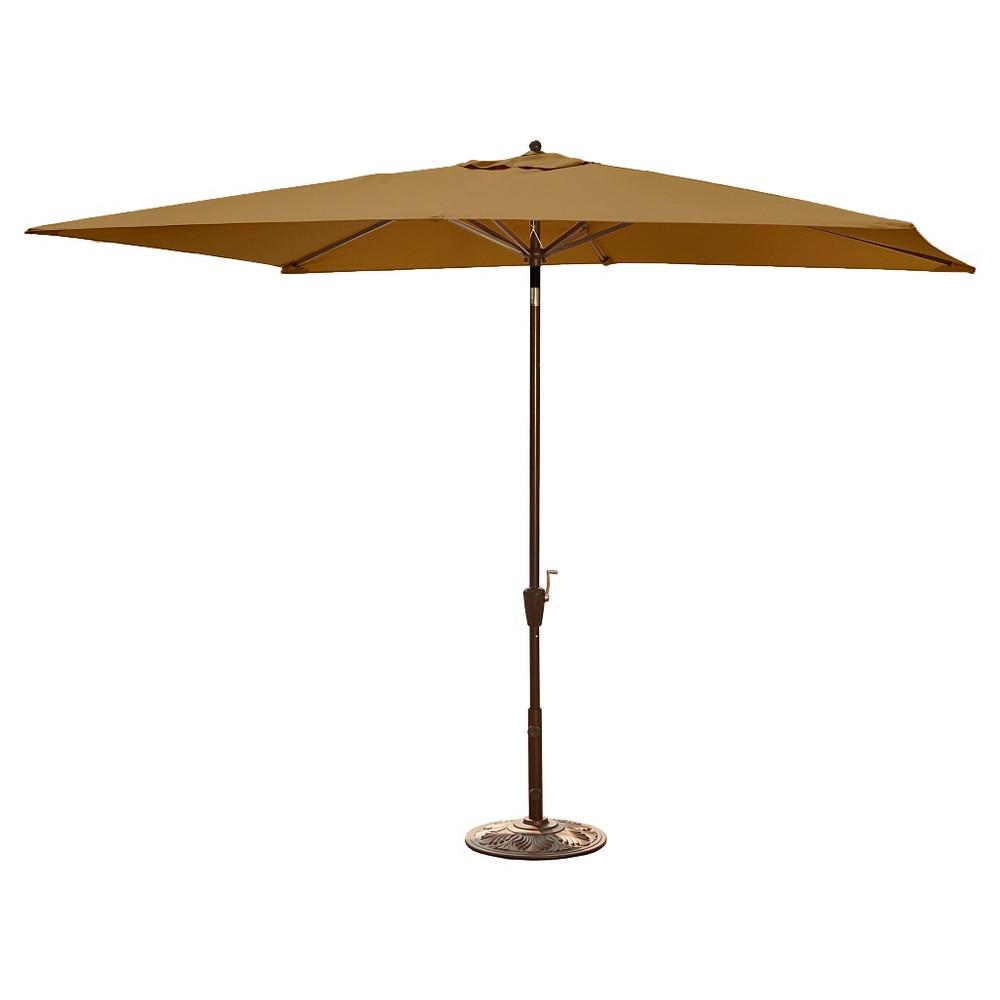 Image of Island Umbrella Adriatic Market Umbrella in Stone (Grey) Olefin - 6.5' x 10'