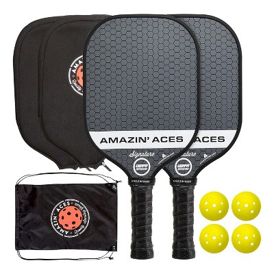 Amazin Aces Signature Pickleball Set with 2 Graphite Face Paddles, 4 Balls, Paddle Covers, and Carry Bag, Gray