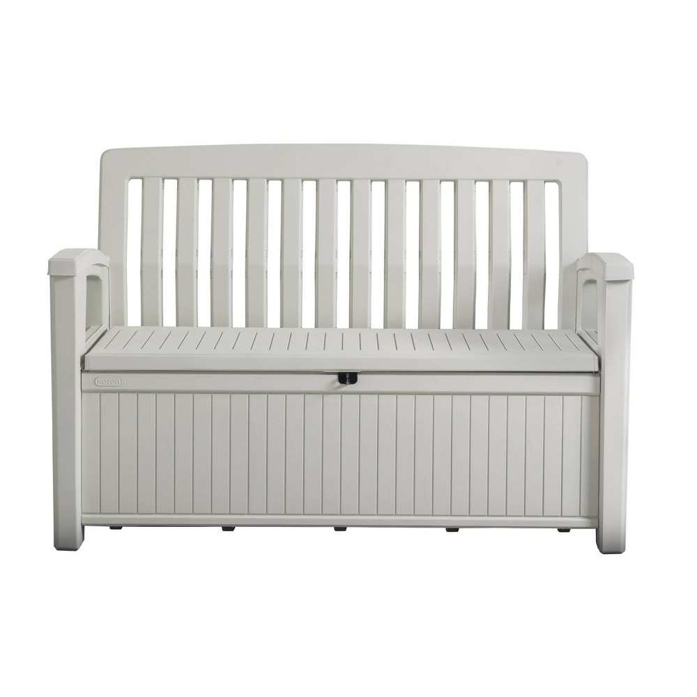 Image of 60gal Patio Storage Bench Deck Box White - Keter