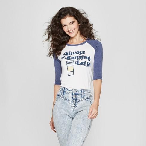 bfc5c0dcec Women's 3/4 Sleeve Always Running Latte Raglan Graphic T-Shirt - Awake  White/Navy