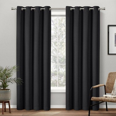 Set of 2 Academy Total Curtain Panels Blackout Grommet Top Curtain Panels Black - Exclusive Home