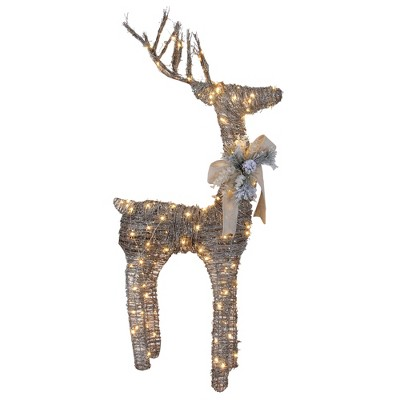 "Northlight 48"" Brown Light Standing Reindeer with Bow and Pine Cones Christmas Outdoor Decor"