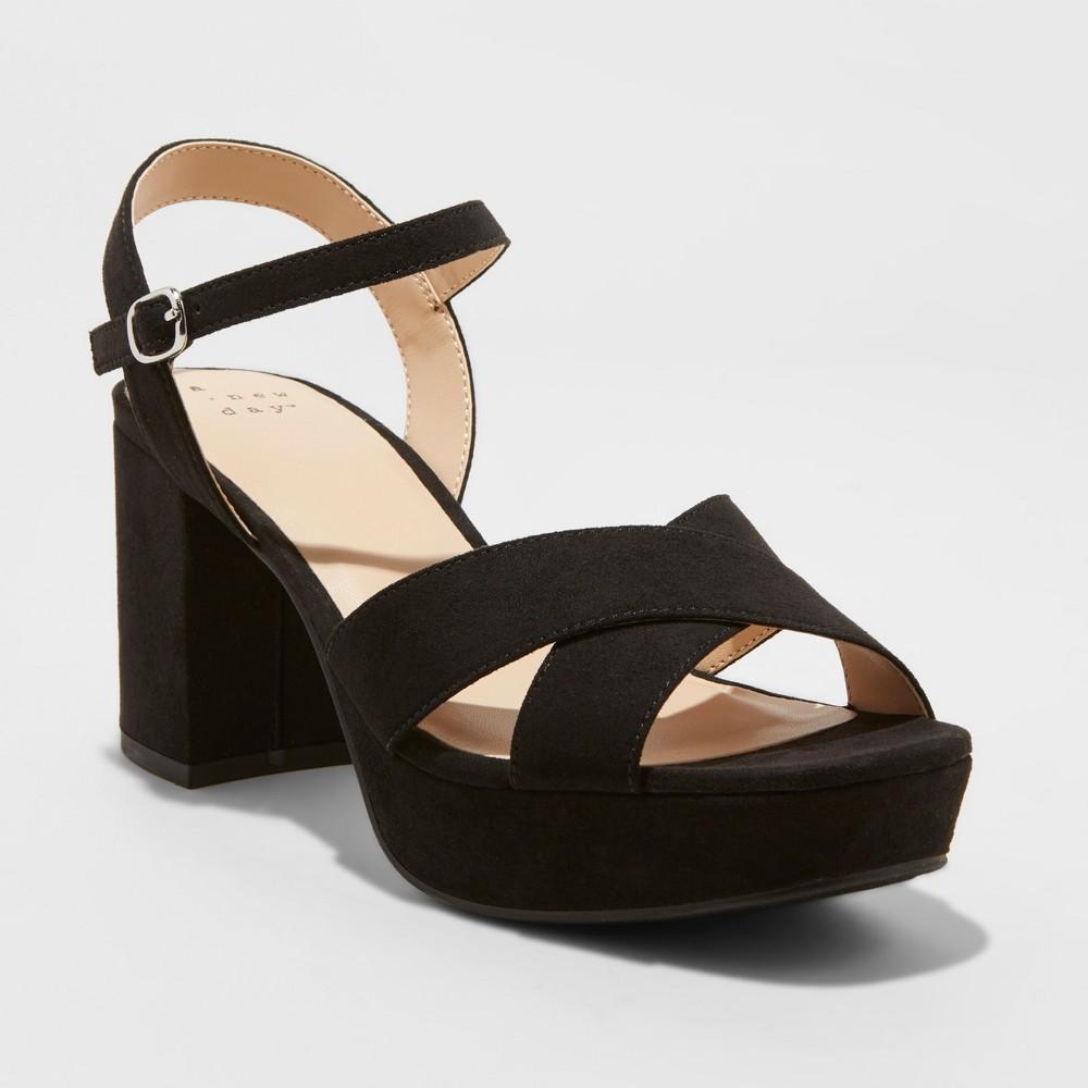 Women's Gabriella Wide Width Mid Heel Platform Pumps - A New Day Black 12W, Size: 12 Wide