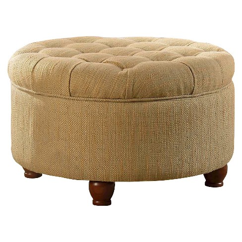 Enjoyable Tweed Tufted Storage Ottoman Tan Cream Homepop Alphanode Cool Chair Designs And Ideas Alphanodeonline