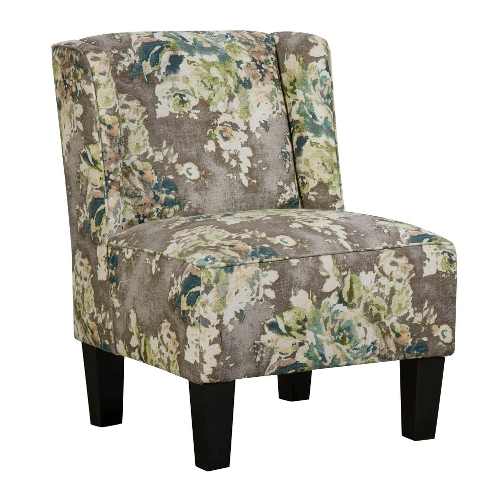 Image of Charlie Winged Slipper Chair Painted Floral Smoky Gray - Chapter 3