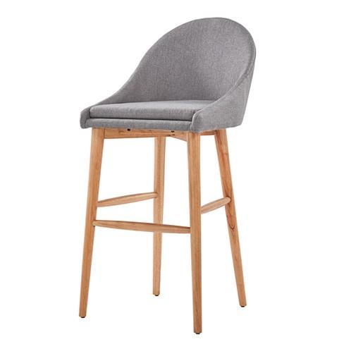 "Set of 2 29.25"" Conrad Natural Danish Modern Bar Chair Smoke - Inspire Q - image 1 of 4"