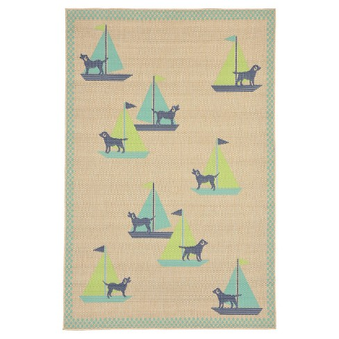"Playa Indoor/Outdoor Sailing Dogs Cool Rug 4'10""X7'6"" Blue - Liora Manne - image 1 of 1"