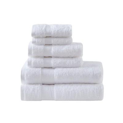 6pc Luxor Cotton Bath Towel Set White