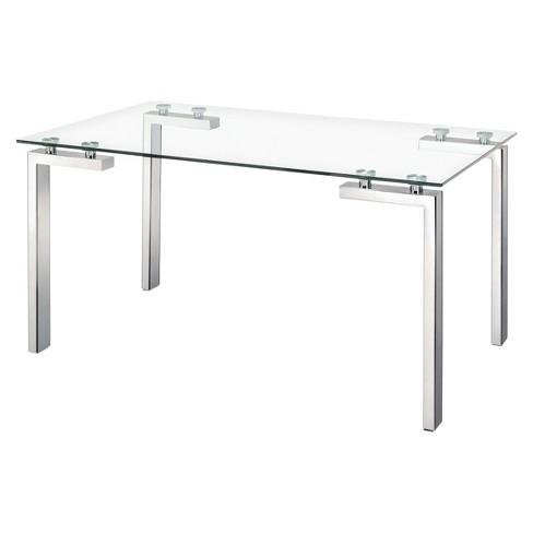 Modern Tempered Glass And Stainless Steel Tube Leg 59 Rectangular Dining Table Zm Home
