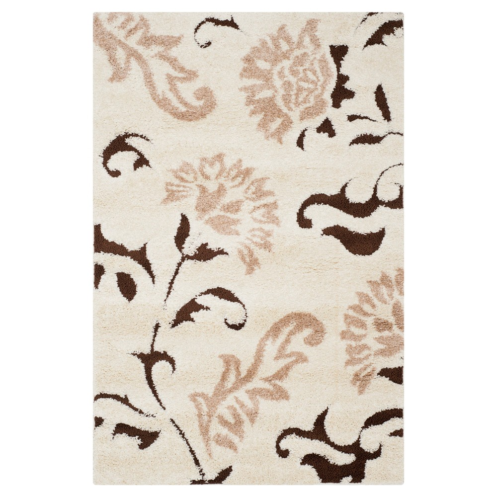 Cream/Dark Brown (Ivory/Dark Brown) Botanical Shag/Flokati Loomed Area Rug - (8'X10') - Safavieh