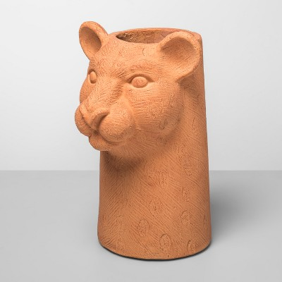 "12.5"" X 7.7"" Jungle Cat Shaped Terra Cotta Vase   Opalhouse by Opalhouse"