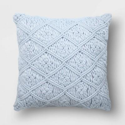 Heathered Macramé Square Throw Pillow Light Blue - Opalhouse™
