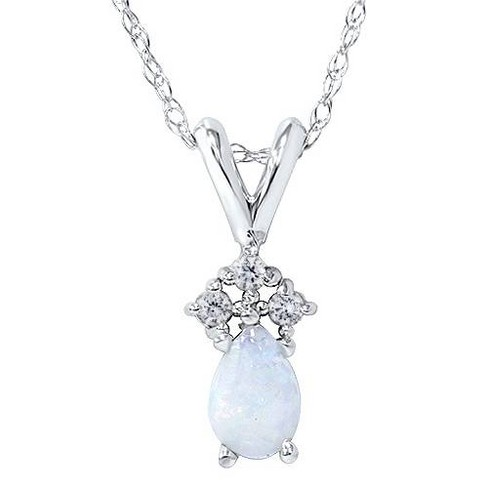 """Pompeii3 Pear Shape Opal & Diamond Solitaire Pendant 14K White Gold With 18"""" Chain - image 1 of 2"""