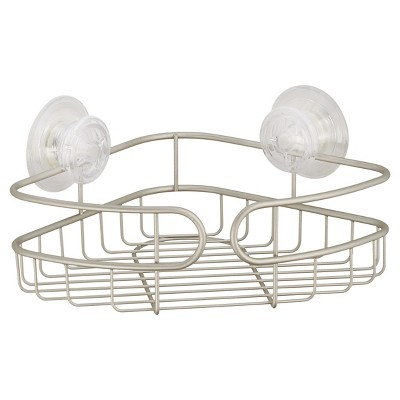 Corner PowerLock Ultra Suction Shower Caddy Satin Silver - InterDesign