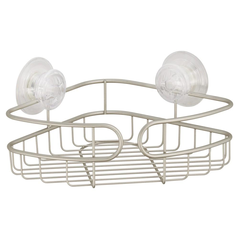 Image of Corner PowerLock Ultra Suction Shower Caddy Satin Silver - InterDesign, Matte Silver