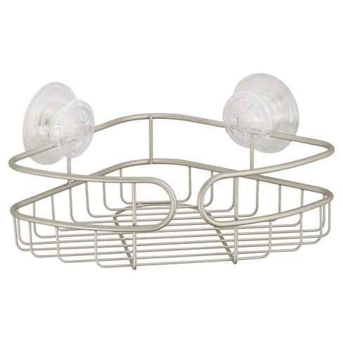 Corner PowerLock Ultra Suction Shower Caddy Satin Silver -  InterDesign - image 1 of 1