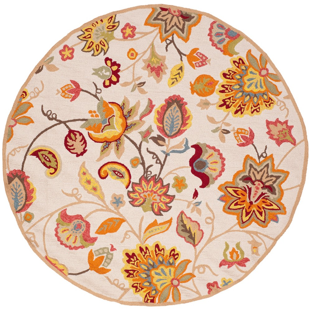 4 Floral Round Area Rug Ivory Yellow Safavieh