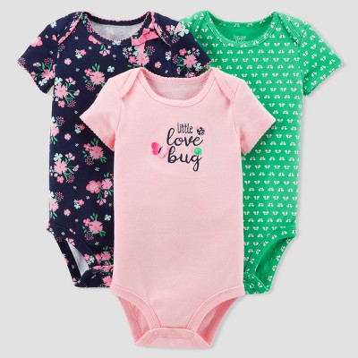 Baby Girls' 3pk Floral Love Bug Bodysuit Set - Just One You™ Made by Carter's® Pink/Navy 3M