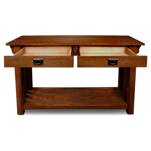 Mission Console Table With Drawers And Shelf Medium Oak Leick Home Target