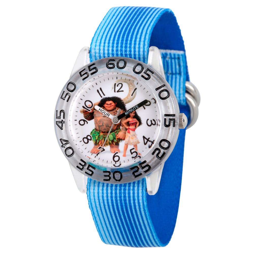 Boys' Disney Moana and Maui Clear Plastic Time Teacher Watch - Blue