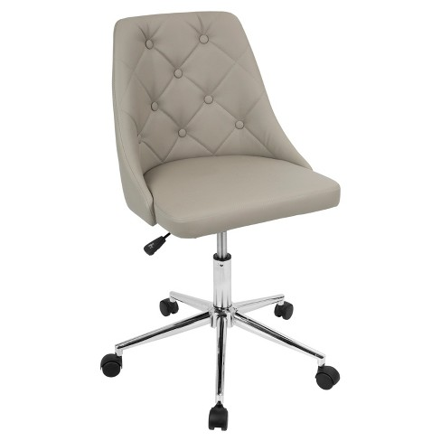 Marche Contemporary Adjule Office Chair Light Grey Chrome Lumisource