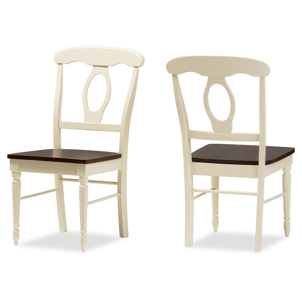 Napoleon French Country Cottage Buttermilk & Cherry Brown Finishing Wood Dining Chairs (Set of 2) - Baxton Studio