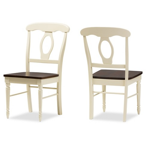 Set of 2 Napoleon French Country Cottage Buttermilk & Cherry Brown Finishing Wood Dining Chairs - Baxton Studio - image 1 of 4