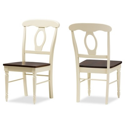 Genial Napoleon French Country Cottage Buttermilk U0026 Cherry Brown Finishing Wood  Dining Chairs (Set Of 2)   Baxton Studio