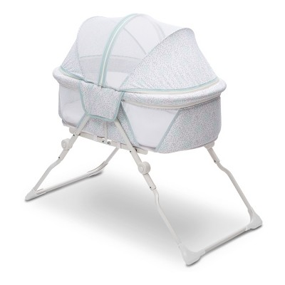 Delta Children EZ Fold Ultra Compact Travel Bassinet - Gray/Aqua