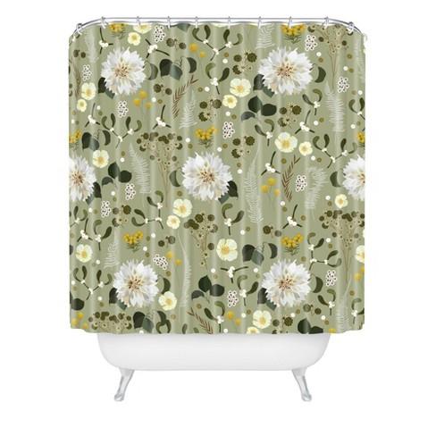 Iveta Abolina Ava Morning Shower Curtain Black/Floral - Deny Designs - image 1 of 2