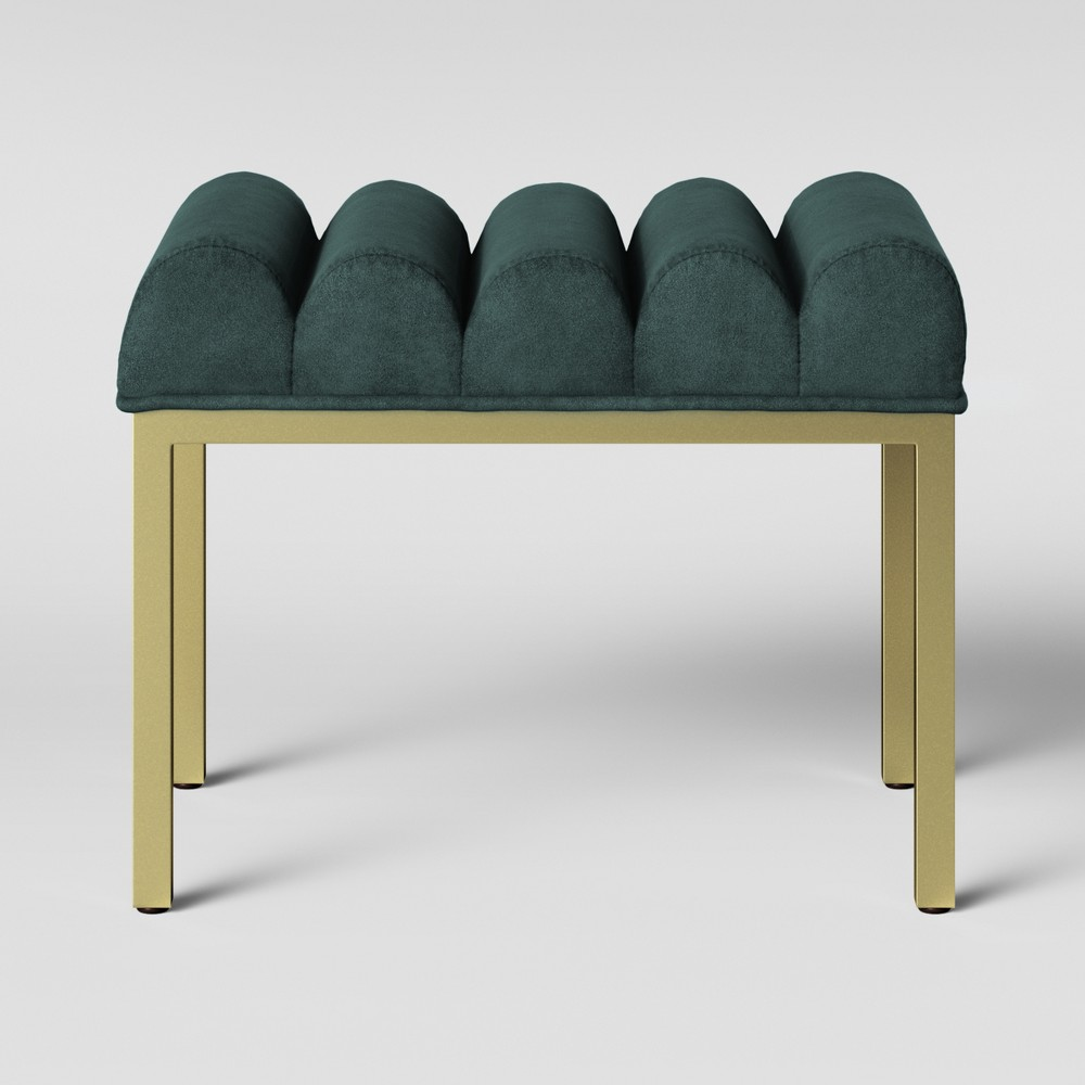 Lyre Chanel Tufted Ottoman with Brass Legs Velvet Teal (Blue) - Opalhouse