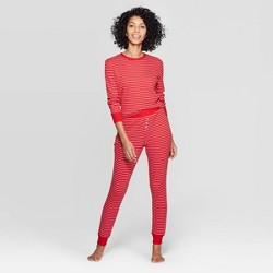 Women's Striped Thermal Sleep Pajama Set - Stars Above™ Red