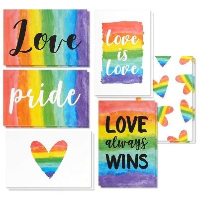Best Paper Greetings 48-Pack Blank LGBTQ Pride Rainbow Greeting Cards with Envelopes, 6 Designs 4x6