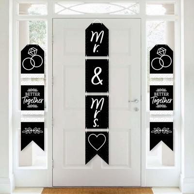 Big Dot of Happiness Mr. and Mrs. - Hanging Vertical Paper Door Banners - Black & White Wedding, Bridal Shower Wall Decoration Kit - Indoor Door Decor