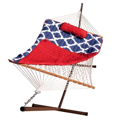 12' Cotton Rope Hammock, Stand, Pad and Pillow Combination - Blue/Red - Algoma