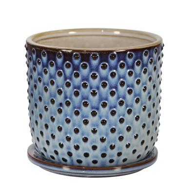 "6"" Ceramic Dotted Planter with Saucer Blue - Sagebrook Home"