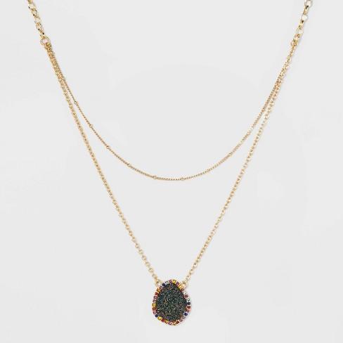 SUGARFIX by BaubleBar Embellished Druzy Pendant Necklace