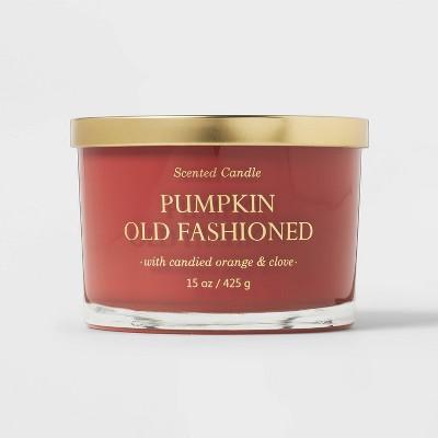 15oz Lidded Glass Jar Rust Orange 3-Wick Pumpkin Old Fashioned Candle - Opalhouse™