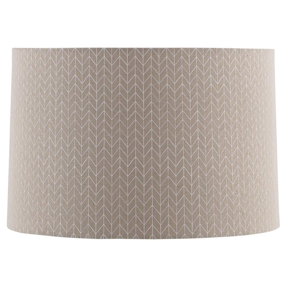 Straight Drum Outline Chevron Lamp Shade Large - Beige with Cream Detail - Threshold, Sour Cream
