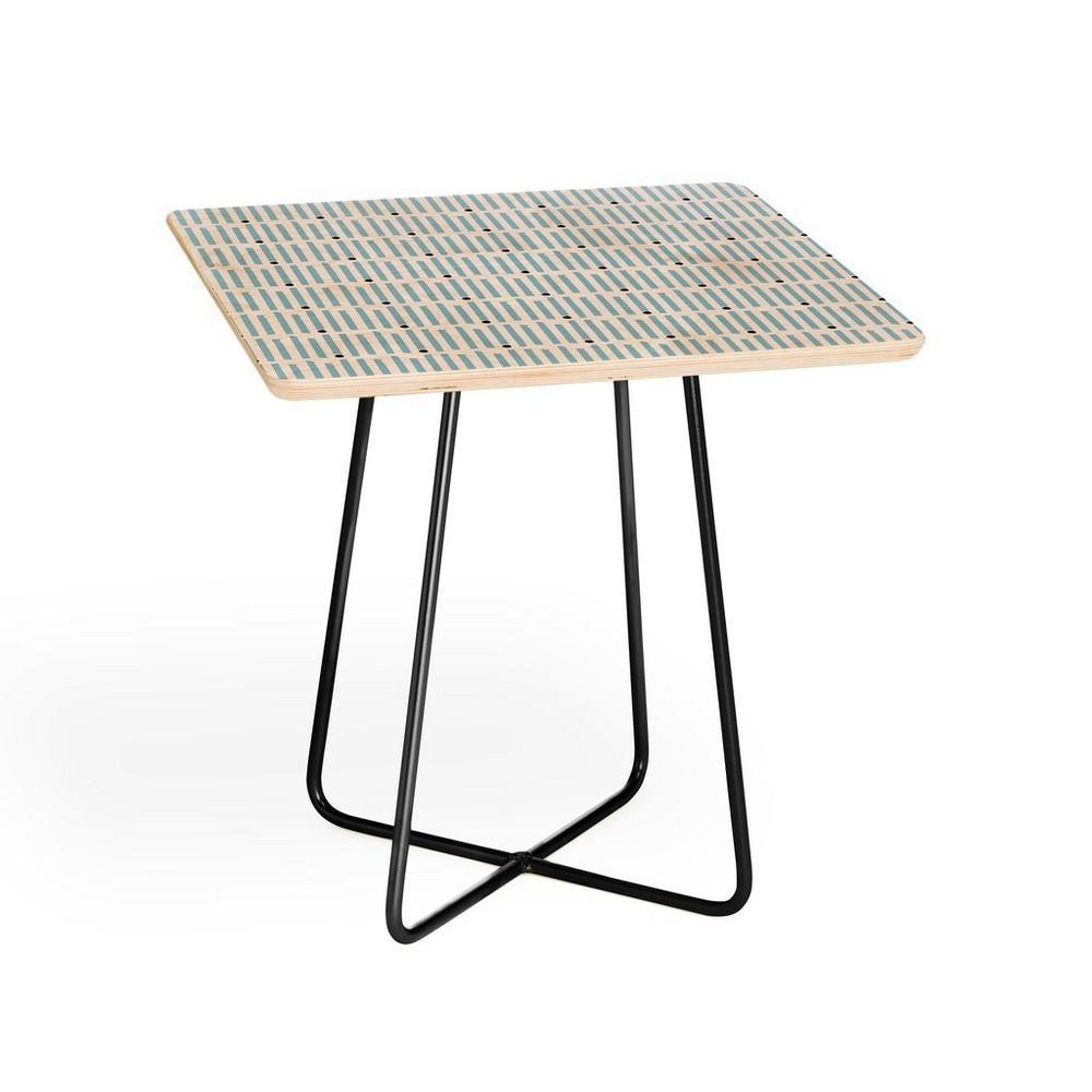 Caroline Okun Keene Stripes Side Table with Black Aston Legs - Deny Designs, Black Legs