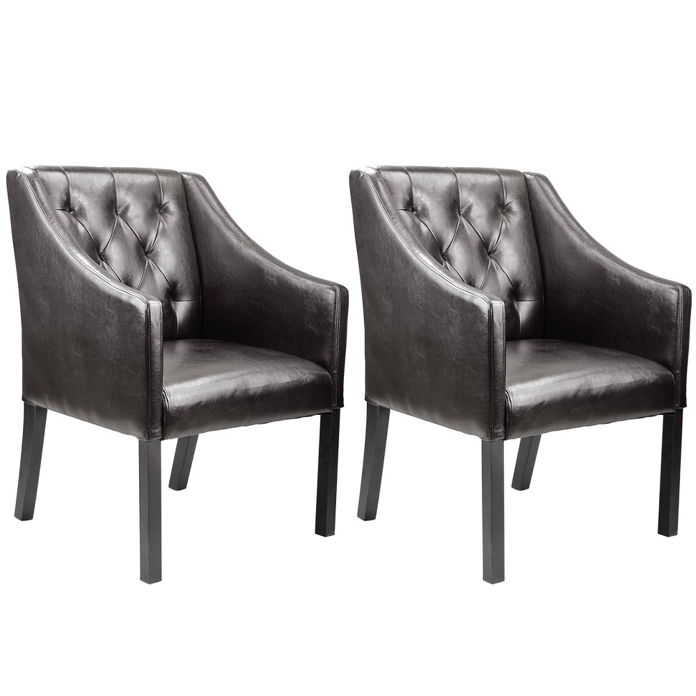 Buy Corliving Antonio Accent Club Chair In Brown Bonded Leather Set Of 2