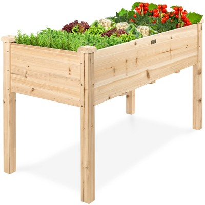 Best Choice Products 48x24x30in Raised Garden Bed, Elevated Wood Planter Box Stand for Backyard, Patio w/ Bed Liner