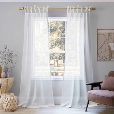 Bethany Slub Textured Linen Blend Sheer Tie Top Curtain Panel - No. 918