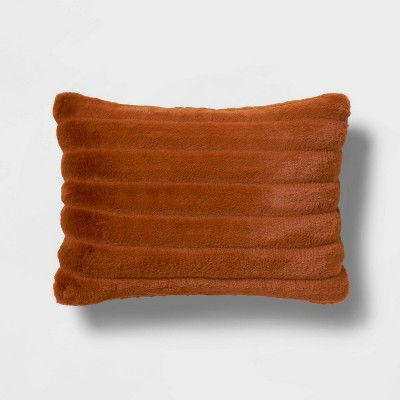 Oblong Channeled Faux Fur Throw Pillow Bronze - Project 62™ + Nate Berkus™
