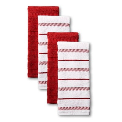 KitchenAid 4pk Cotton Albany Kitchen Towels Red
