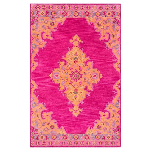 5'x8' Solid Area Rug Pink - nuLOOM - image 1 of 4